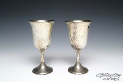 Antique Sterling Silver Pair Goblet Cup Chalice Watrous Water Wine Set 327 grams