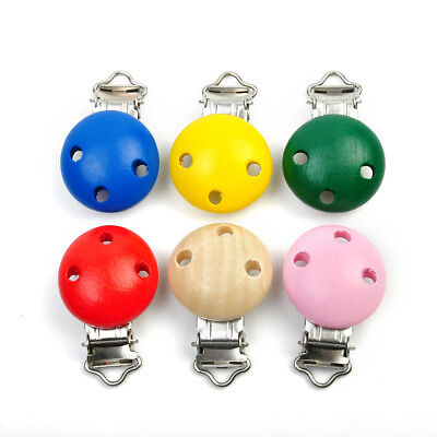Wooden Dummy Clip Metal Pacifier Natural Colour Clips Wooden Baby Supplies Round