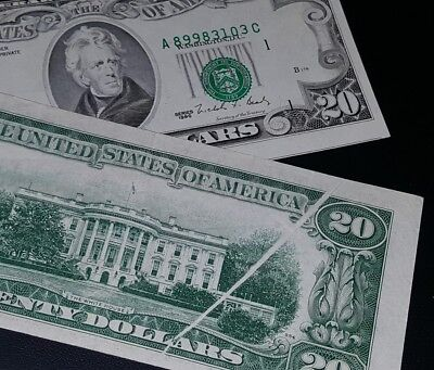 $20 ERROR note lot of 2 / Gutterfold & Misalignment 2nd note shows