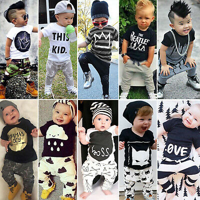 86955c65a CUTE TODDLER KIDS Baby Boy Outfits Clothes T-shirt Tops+Pants ...