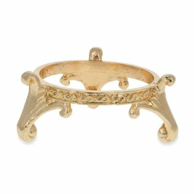 Wide Circle Gold Tone Metal Egg Stand Holder