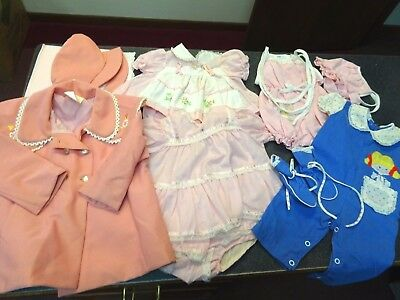 Vintage lot 1970s-80s Era Baby Clothes For Girls Used-Adorable Outfits*