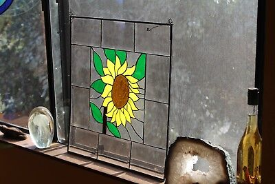 "Vintage Lead Stainglass Panel, ""Sun Flower"", With Clear Beveled Panels Around It"