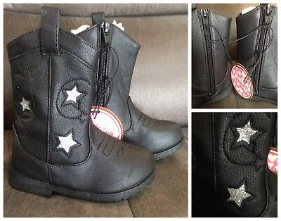 New Chatties black western boot with star glitter inlay, toddler sz 5/6