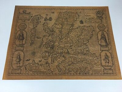 """Framed Old Copy Of The Map """"The Kingdome Of Scotland 1610"""" By John Speed"""