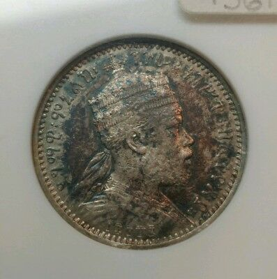 Ethiopia 1894-A EE 1887 1/8 Birr 1/8B ANACS EF40 XF Silver Coin Oil Slick Toned