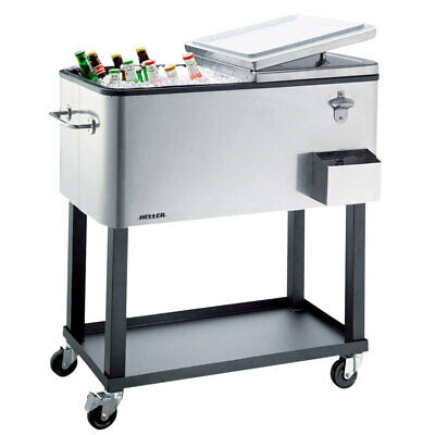 Heller Alfresco Ice Drink Cooler Cart 80L/Box/Chest/Trolley/Tray for BBQ Party