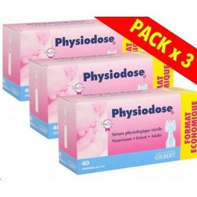 Physiodose Physiological Serum 3 Boxes 40 Single Doses Nasal Eyes Cleanse NEW