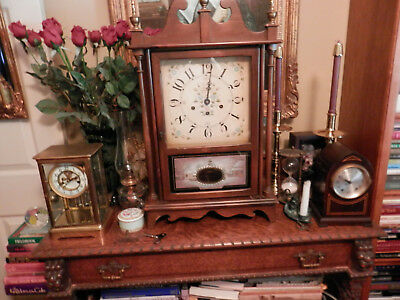 Vintage New England Pillar and Scroll Mantel Clock Large Working 8 Day