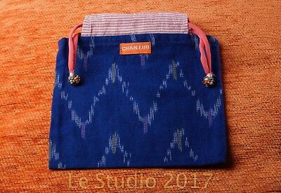 Chan Luu Cloth Gift Bag, Blue Patterned, Drawstring Closure w/ Beaded Accents