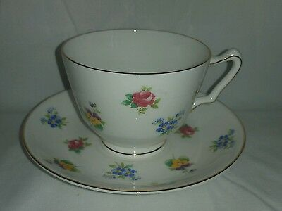 VINTAGE CROWN STAFFORDSHIRE BONE CHINA TEA CUP AND SAUCER Petit Flowers Multi