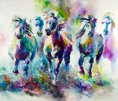 Best Modern Watercolor Horse Painting Canvas Print Home Decor Wall Art GIFT