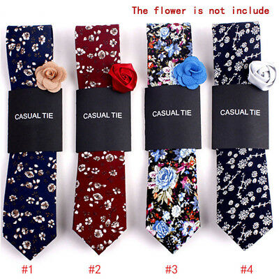 Fashion Men Floral Print Tie Suit Skinny Ties Slim Cotton Neck Tie Necktie