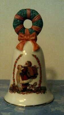 "Vtg 1995 Avon Christmas  ""santa  With List""  Bell -  No Box -Free Shipping"