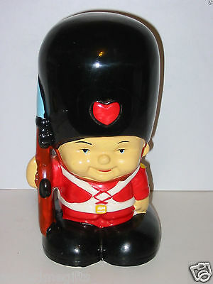 """Toy Soldier Queens Guard Painted Ceramic Coin Bank Vtg 60's? 70's? 10"""" Nice"""