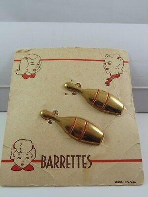1940's Red Bowling Pin Hair Barrettes ~ Vintage Set Of 2 On Card ~ Rockabilly