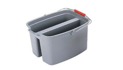 Brute 19 Qt Durable Plastic Gray Square Metal Loop Double Pail Cleaning Tool New