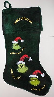 The Grinch Green Christmas Stocking Dr. Seuss How The Grinch Stole Christmas