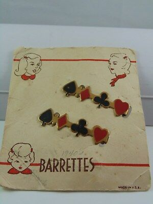 1940's Playing Cards Suit Hair Barrettes ~ Vintage Set Of 2 On Card ~ Rockabilly