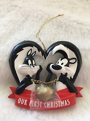 Pepe Le Pew Penelope Our First Christmas Ornament Looney Tunes 1997 New Rare