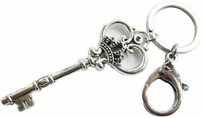 Large Skeleton Key Keychain Antique Silver Finish Ornate Victorian Style Crown
