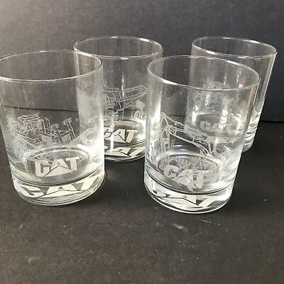 4 13.5 OZ Caterpillar etched glasses heavy equipment Norscot promotional