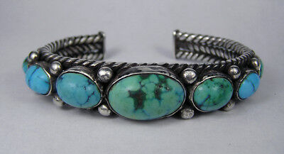 Fabulous Early Navajo twisted wire silver/turquoise bracelet,1910,NR