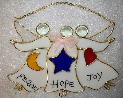 Stained Glass Angel Window Wall Hanging Suncatcher Christmas Gold Edging *not ha