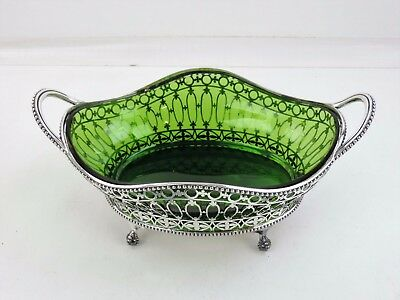 Magnificent 30cm SILVER 2-HANDLED DISH with GREEN GLASS, Sheffield 1906 Basket