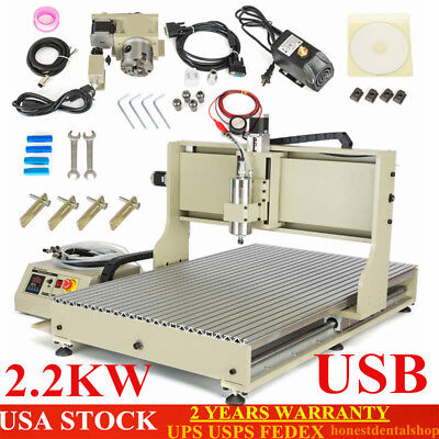 USB CNC Router 4Axis 6090 2.2KW VFD Engraver Milling Drilling Machine Metal cut!