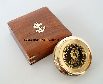 Antique-Vintage-Maritime-Brass-Victorian-Pocket-Compass-3-034-With-Wooden-Box