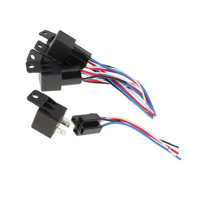 5 Sets 12V DC 40A 40Amp 4-Pin SPDT Automotive Car Relay 4 Wires Harness Set