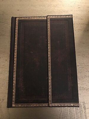 "New!! Paperblanks Old Leather ""Black Moroccan"" Handtooled Mini Lined Journal"