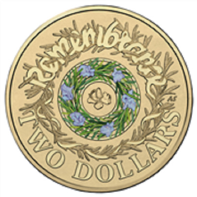 Australian Two Dollar $2 coin - 2017 ANZAC - BLUE GREEN Remembrance Rosemary UNC