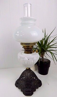 Original Vintage Antique White Glass Oil Lamp & Glass Shades & Cast Iron Base
