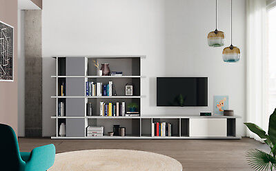 design wohnwand mit regal xxl stauraum schwebende anbauwand highboard schrank eur. Black Bedroom Furniture Sets. Home Design Ideas