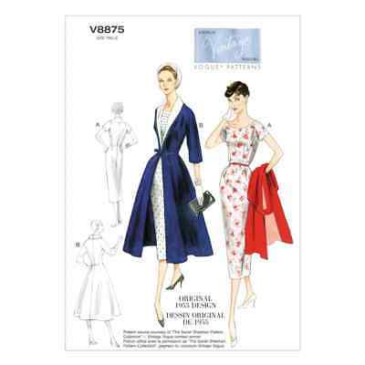 Vogue Sewing Pattern V8875 Misses' Dress, Belt, Coat and Detachable Collar