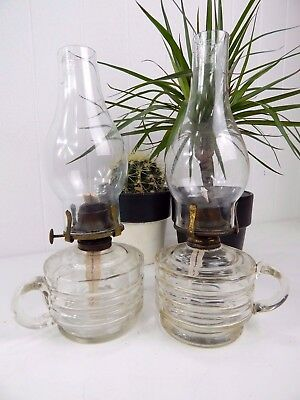 Original Vintage Victorian Thick Clear Glass Finger Oil Lamps Pair