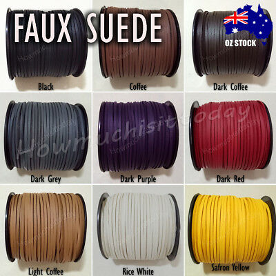 5m Faux Suede Cord One Side Covering with Imitation Leather Necklace DIY