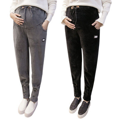 New Maternity Pants Thicken Lined Pregnant Women Winter Casual Sports Trousers