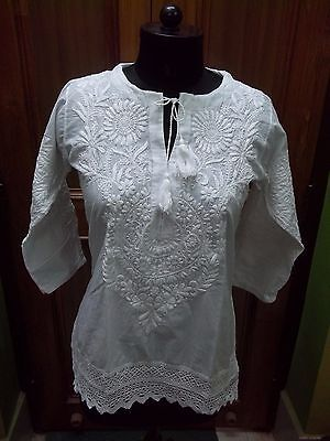 M Xl Ethnic Dress 100% Cotton Top Chikan Embroidery Handmade Kurta Kurti Tunic