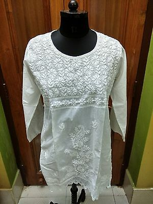 "Excellent M 40"" Tunic Kurta Cotton Handmade Top Ethnic Chikan Embroidery Kurti"