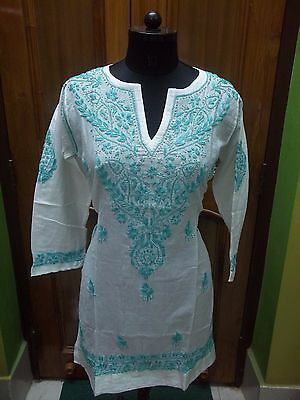 "Handmade Kurta 100% Malmal Cotton L 42"" Ethnic Fine Chikan Embroidery Blouse Top"