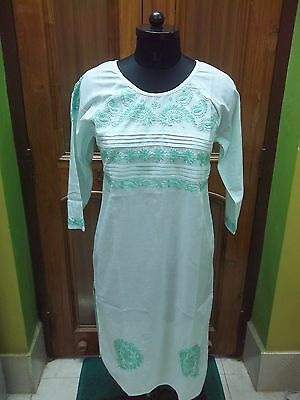 Ethnic Chikan Embroidery Dress Xs S M 100%cotton  Top Handmade Kurta Kurti Tunic