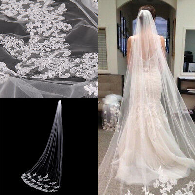 Ivory White Style Cathedral Length Lace Edge Bride Wedding Bridal Veil With Comb
