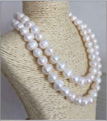 """huge 35"""" 11-12 MM SOUTH SEA NATURAL White PEARL NECKLACE 14K gold"""