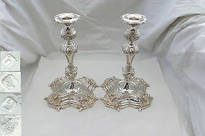 RARE PAIR of IRISH HM STERLING SILVER CAST CANDLESTICKS 69 oz