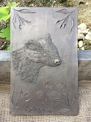 Antique effect sculpture, aged metal effect badger wall plaque, gift, present