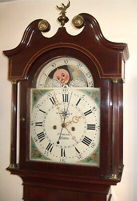 "Stunning mahogany & Inlaid ""4 Hand"" Moon phase longcase grandfather clock C1800"