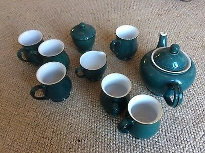 Green/Blue Denby Tea Set (Tea Pot, 6 Cups, Milk Jug, Sugar Pot, 4 Plates)